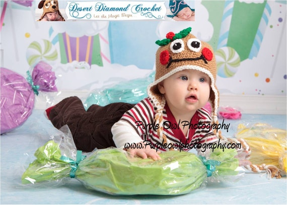Crochet Pattern 042 - Mr and Mrs Gingerbread Earflap Hats - All Sizes