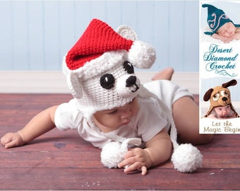 Crochet Pattern 027 - Christmas Santa Polar Bear Earflap Hat - All Sizes