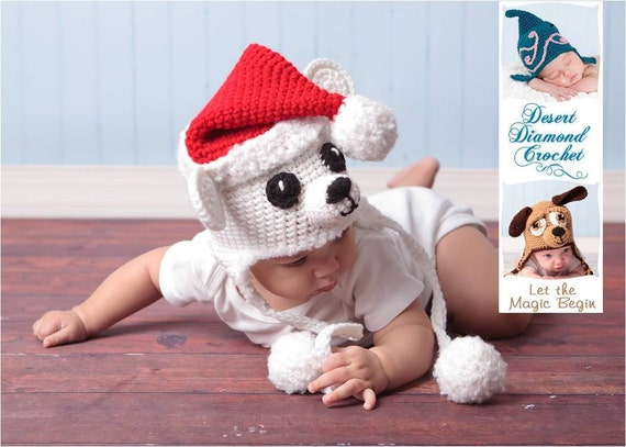 Crochet Pattern 027 - Christmas Santa Polar Bear Earflap Hat - All Sizes