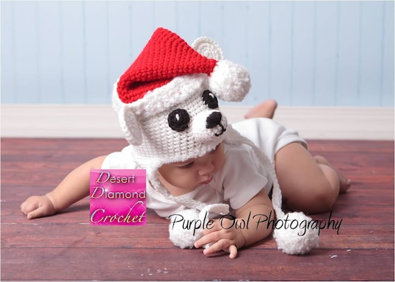 Christmas Polar Bear Earflap Hat - Any Size - Any Color Combo