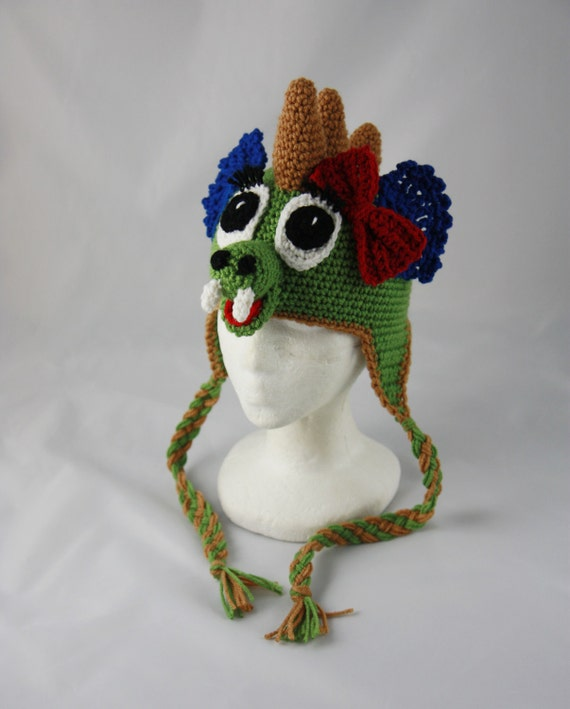 Dragon Earflap Beanie - Any Size - Any Color Combo