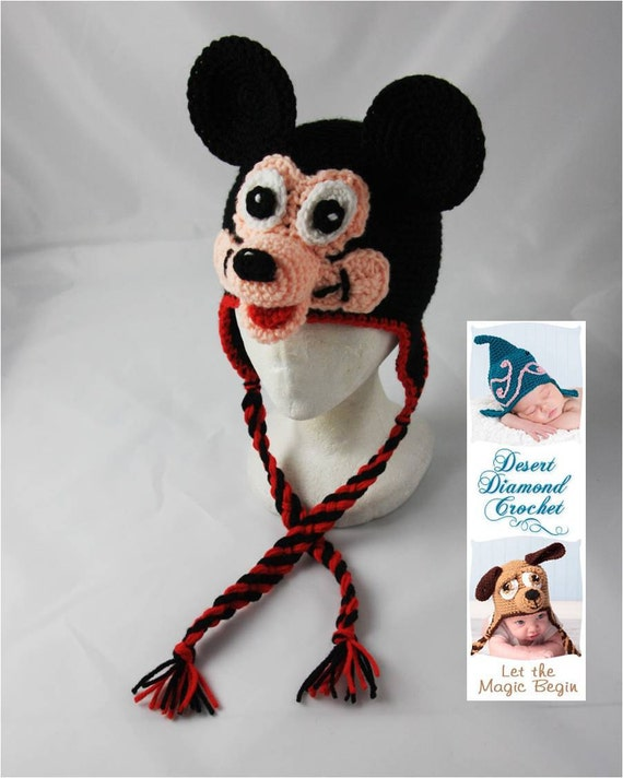Crochet Pattern 061 - Mr. Mouse Earflap Beanie Hat - All Sizes