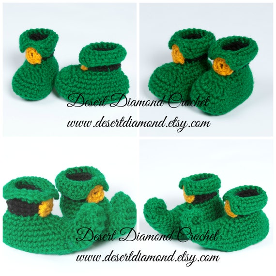 Crochet Leprechaun Baby Booties - 5 Sizes - Made to Order