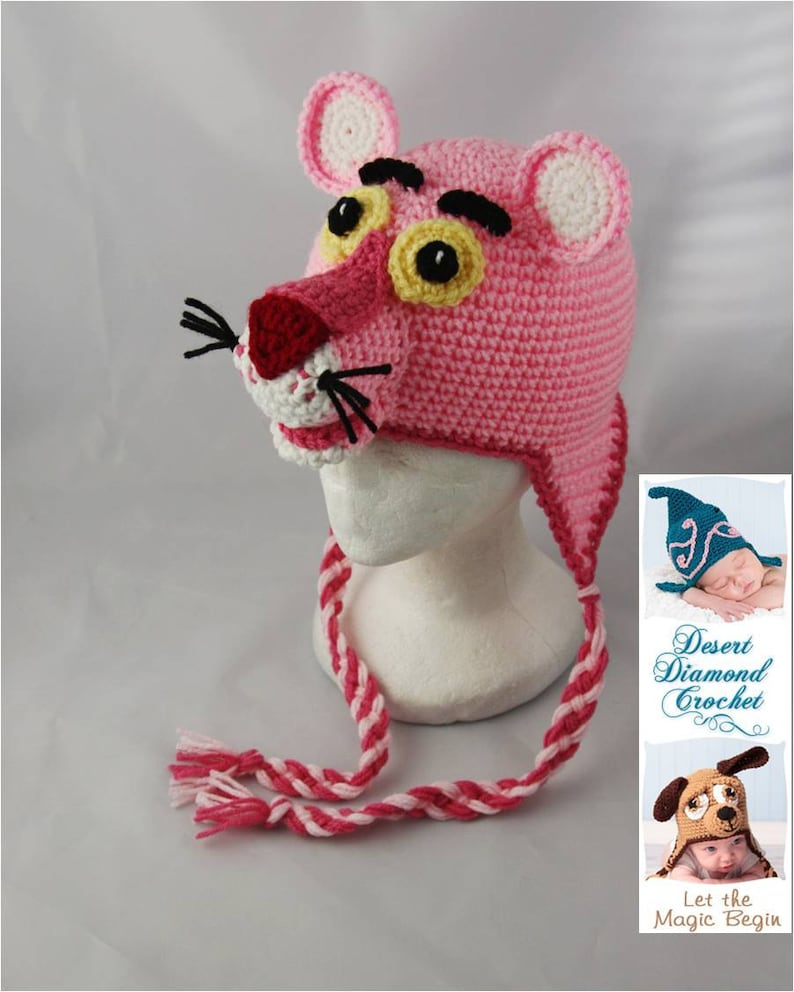Crochet Pattern 048  Pink Panther Beanie Hat  All Sizes image 0