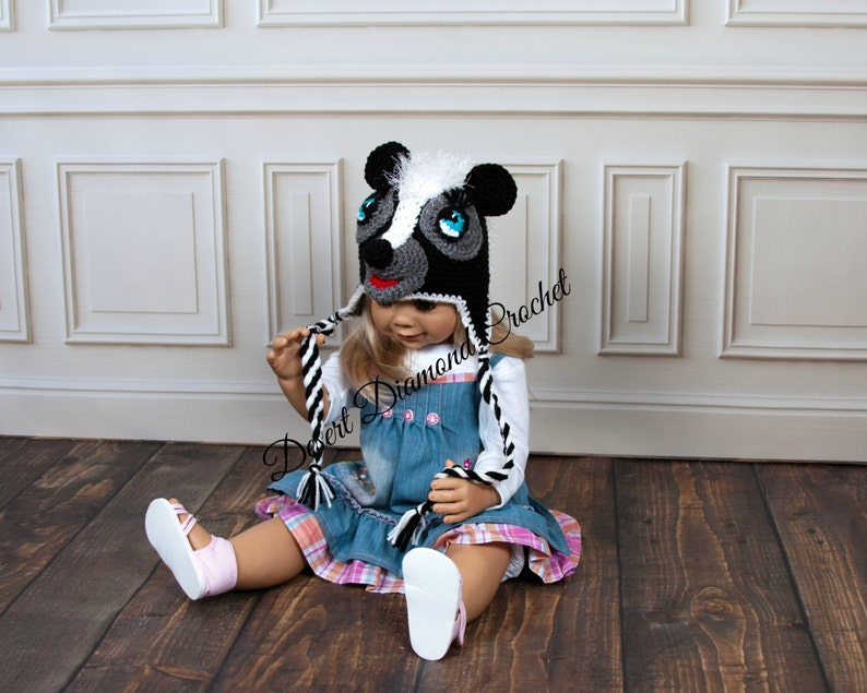 Crochet Pattern 101  Lil Stinker Skunk Beanie Hat  All Sizes image 0