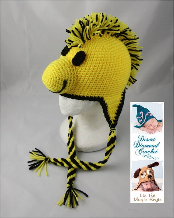 Crochet Pattern 046- Yellow Bird Beanie Hat - All Sizes