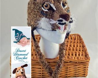 Crochet Pattern 084 - Bobcat Earflap Beanie Hat - All Sizes