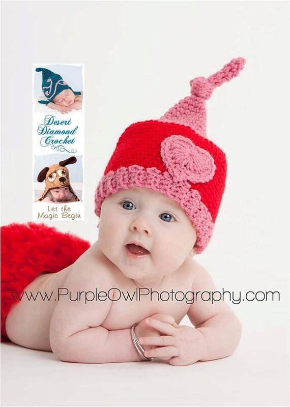 Crochet Pattern 052 - Valentine Gnome Beanie Hat - All Sizes
