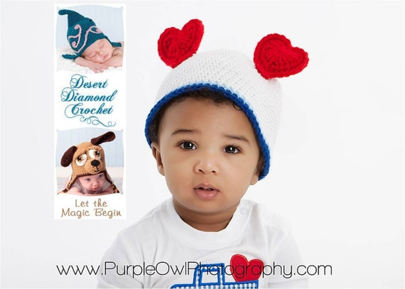 Crochet Pattern 010 - Heart Ears Beanie Hat - All Sizes