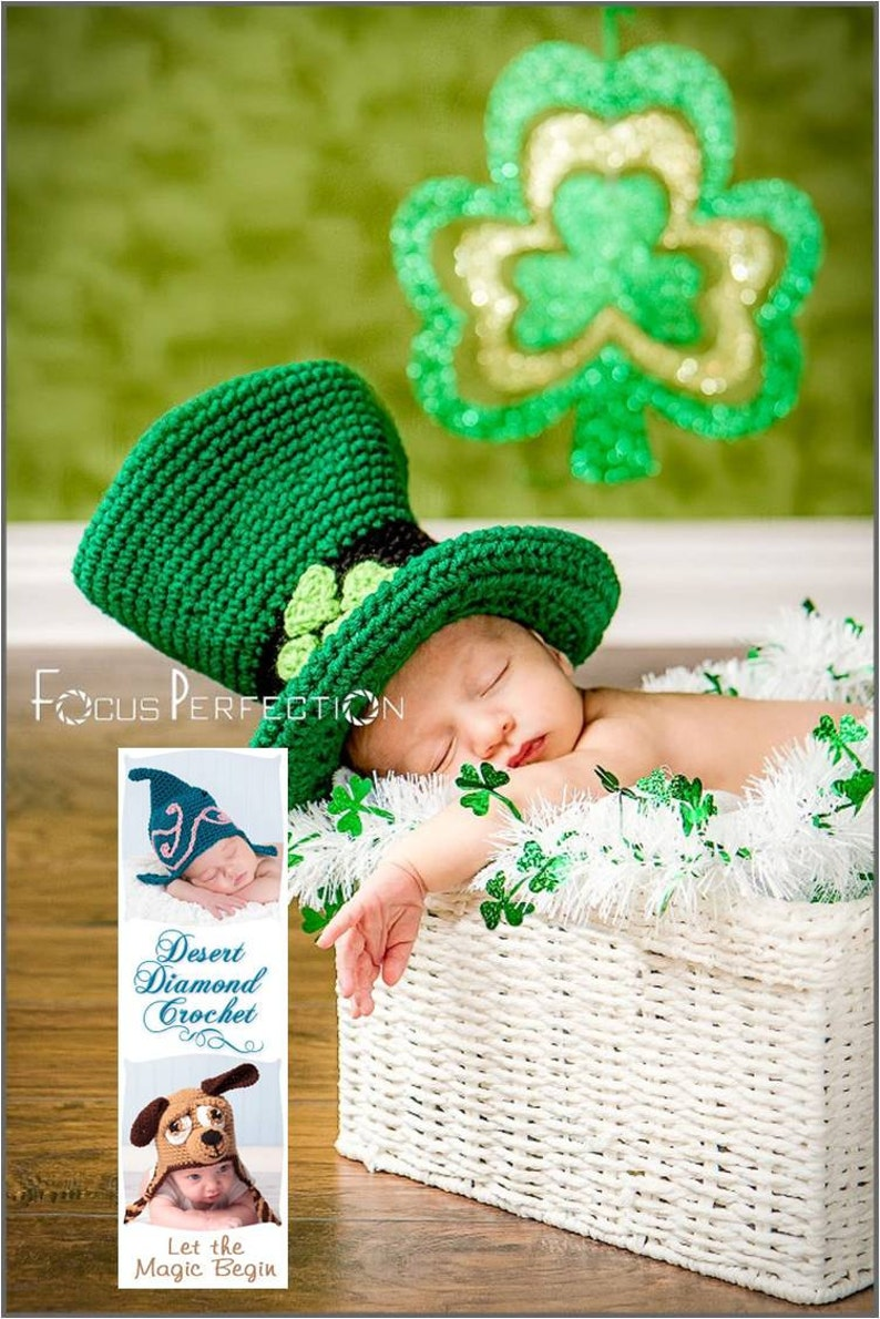 Crochet Pattern 078  Lucky Leprechaun Hat  All Sizes image 0