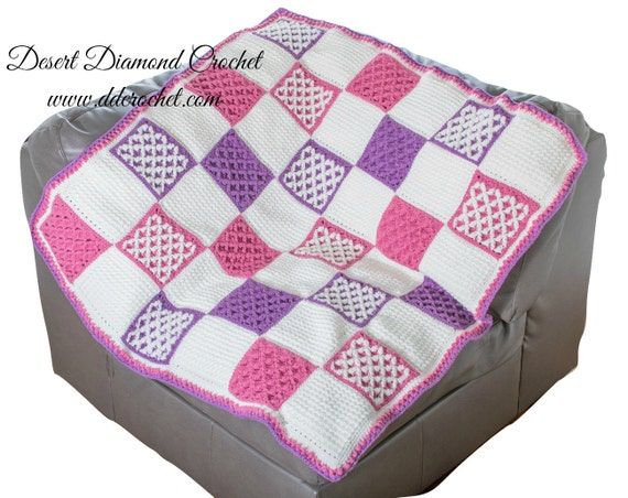 Crochet Pattern - PDF 123 Starburst Lattice Crochet Quilt