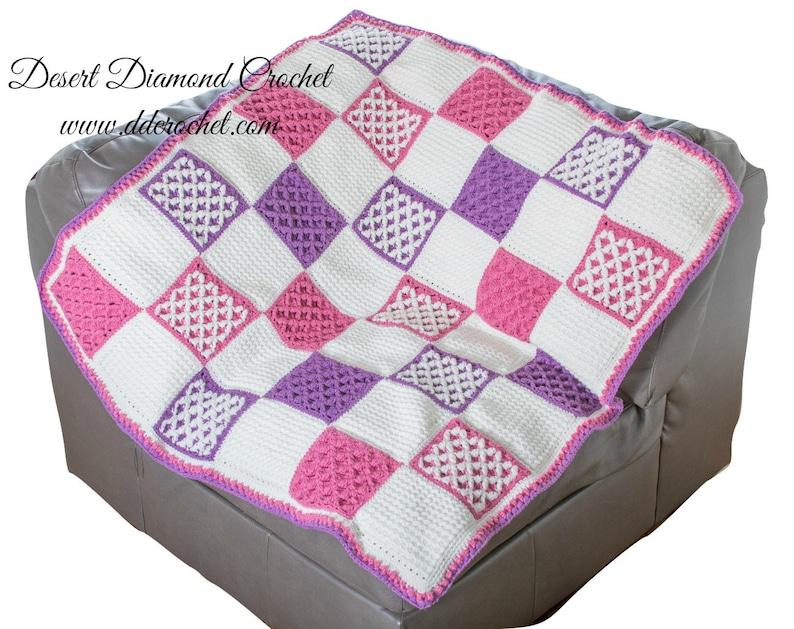 Crochet Pattern  PDF 123 Starburst Lattice Crochet Quilt image 0