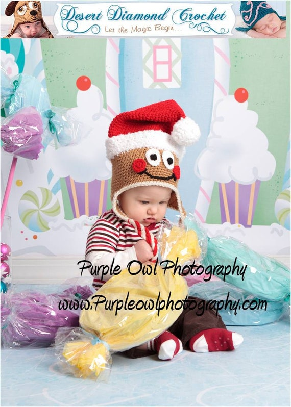 Crochet Pattern 037 - Santa Gingerbread Hat - All Sizes
