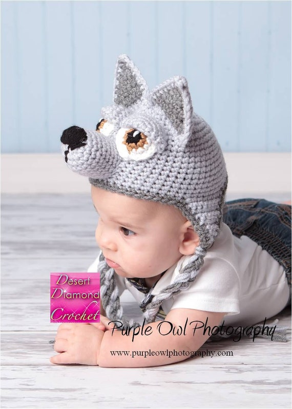 Wolf - puppy earflap beanie hat - any color combo for any dog