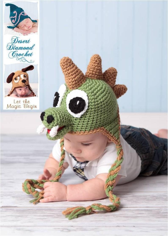 Crochet Pattern 005  Dinosaur Earflap Beanie Hat  All Sizes image 0