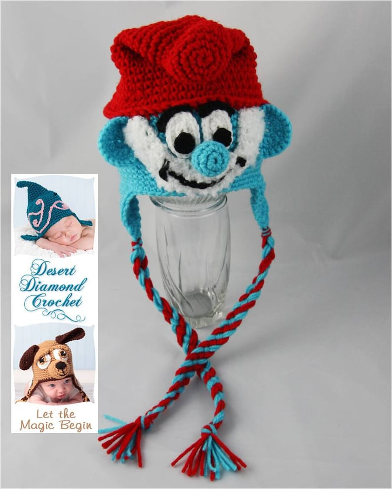 Crochet Pattern 058  Grandpa Blue Gnome Beanie Hat  All image 0