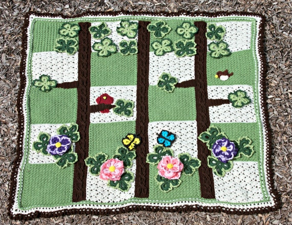 Crochet Pattern 105 - Spring Scene Pictoghan Baby Blanket
