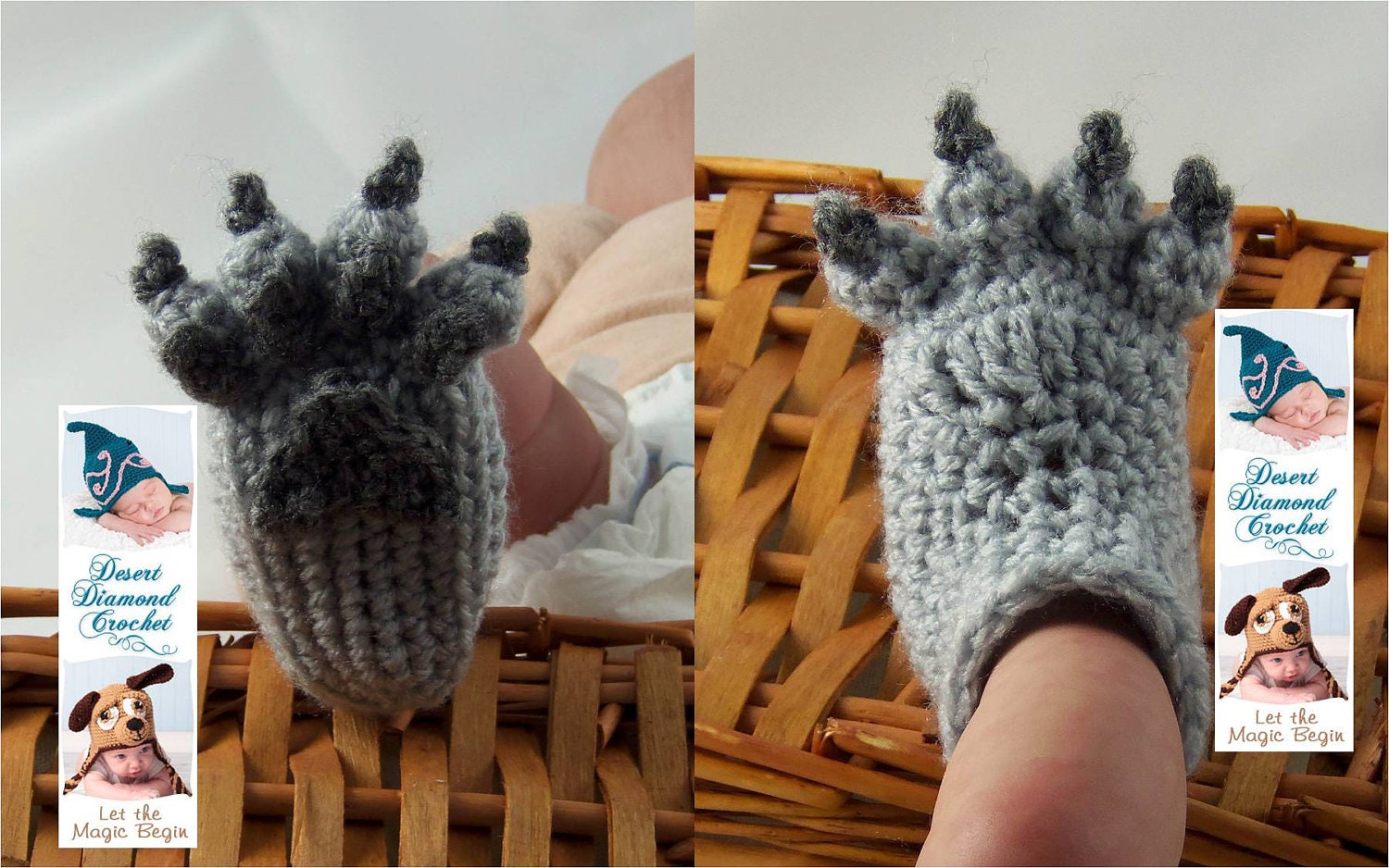 Wolf Paw Baby Booties - 5 Sizes - Made To Order
