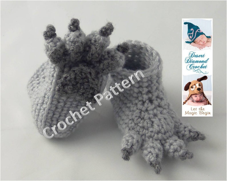 Crochet Pattern 074  Wolf Paw Baby Booties  5 Sizes image 0