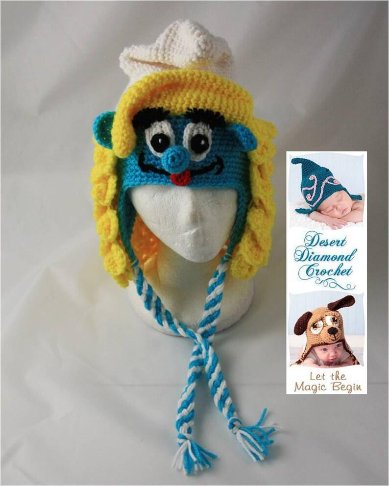 Crochet Pattern 059  Girl Blue Gnome Beanie Hat  All Sizes image 0