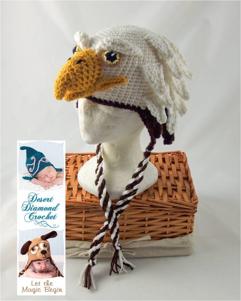 Crochet Pattern 072  Eagle Hat  All Sizes image 0