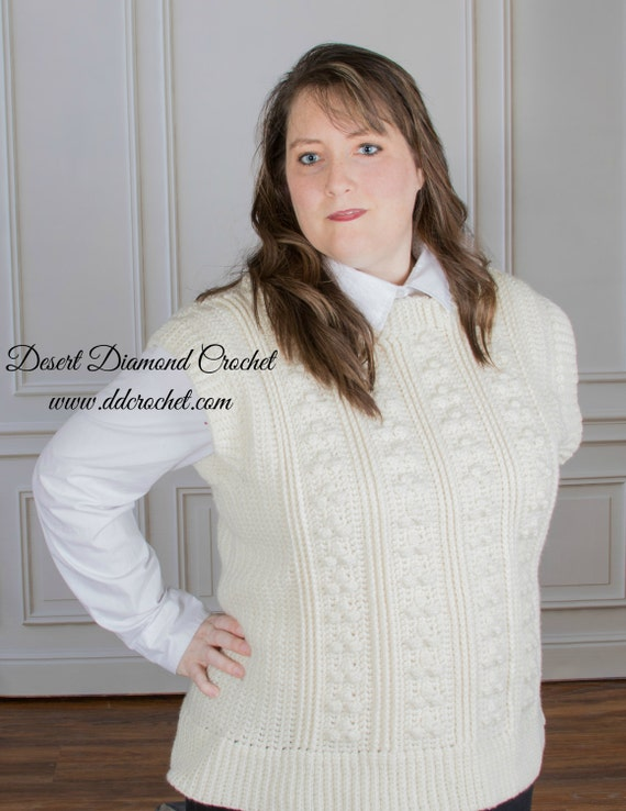 Crochet Pattern - PDF 122 Ridge Berry Fishermen's Vest