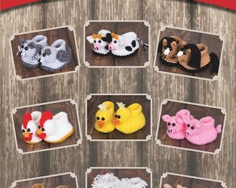 eBook - Crochet Bootimals - Barnyard Buddies Book - 9 Adorable Animal Baby Booties to crochet!