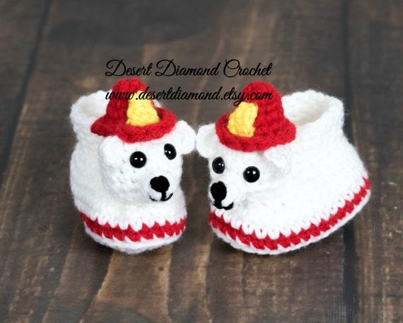 Crochet Pattern 115 - Fireman Bear Baby Booties - 5 Sizes