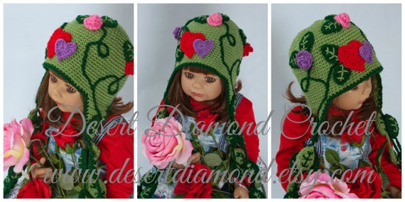 Crochet Pattern 103 - Let Love Grow hat - All Sizes - hearts, roses, leaves, vines