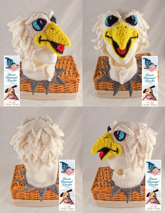 Crochet Pattern 096 - Swoop the Philadelphia Eagle Hat #2 - All Sizes