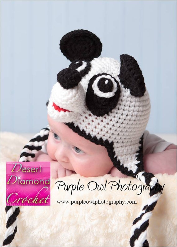 Panda Earflap Hat - Any Size