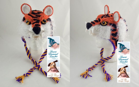 Crochet Pattern 093 - Louisiana State University Tiger Hat - All Sizes