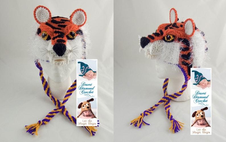 Crochet Pattern 093  Louisiana State University Tiger Hat  image 0