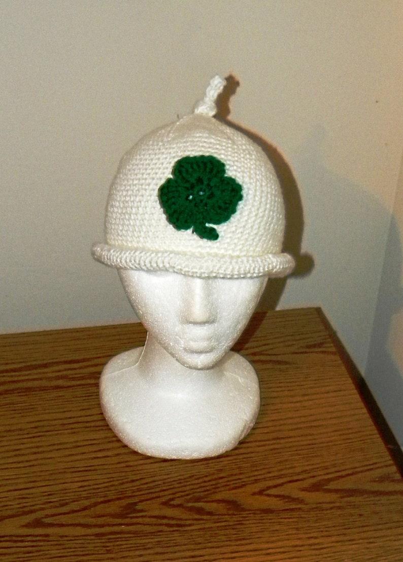 Crochet Pattern 026  Shamrock Gnome Beanie Hat  All Sizes image 0