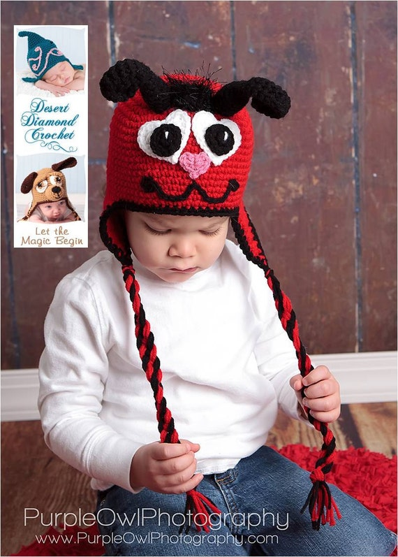 Crochet Pattern 053 - Valentine Love Bug Earflap Hat - All Sizes