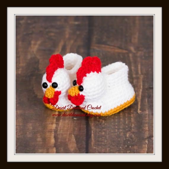 Crochet Pattern 116 - Chicken Baby Booties - 5 Sizes