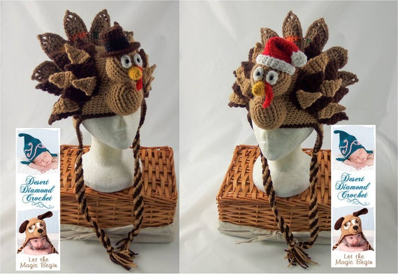 Crochet Pattern 073 - Holidurkey Turkey Hat - All Sizes