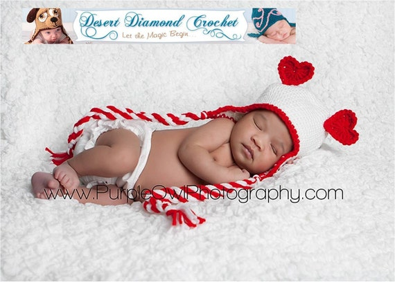 Heart Ears Earflap beanie photography prop any color any size