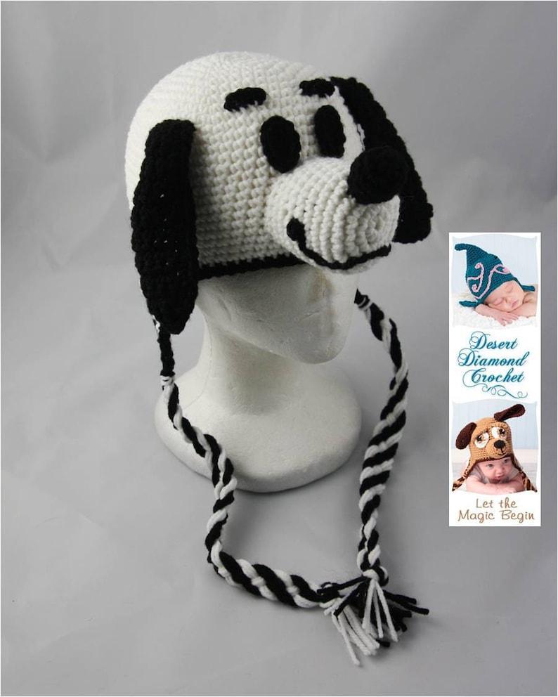 Crochet Pattern 045  White Puppy Hat  All Sizes image 0
