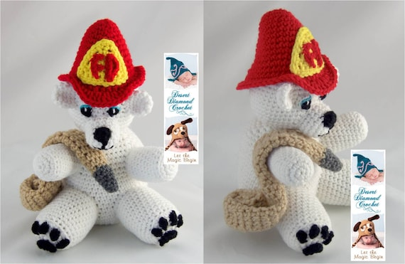 Crochet Pattern 086 - Fireman Bear - Angel Bear