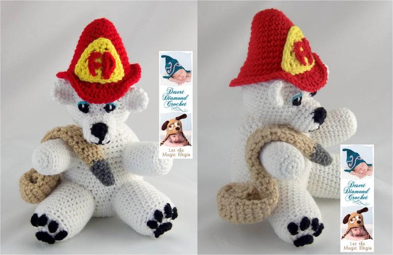 Crochet Pattern 086  Fireman Bear  Angel Bear image 0
