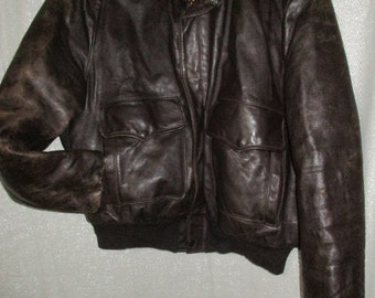 8519a488135 vintage SEARS HERCULES outerwear horsehide bomber flight aviator LEATHER  jacket 50 s distressed knit cuffs waist diamond liner 44