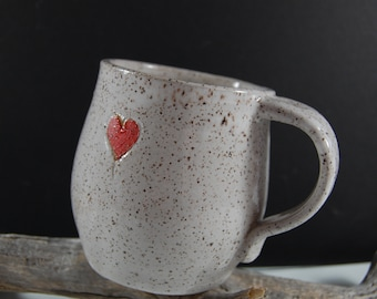 Heart Pottery Mug , Perfect For Valentine's Day, The Beach,Serving, Handmade, White With Natural Clay, Organic