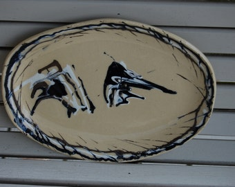 Large Pottery Platter Tray -Footed Serving Dish,Serving, Handmade One Of A Kind