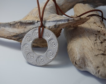 White Stamped Pottery Pendant Necklace - Handmade, Stamped.    J22