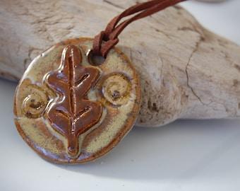 Oak Leaf Glass Infused Focal Pottery Pendant Necklace J04