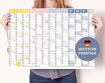 A2 Wandplaner 2022 german with 13 months (Jan 2022 - Jan 2023) Wall calendar with holidays