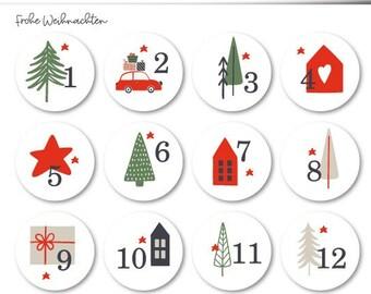 24 Advent calendar numbers 40 mm self-adhesive on matt foil