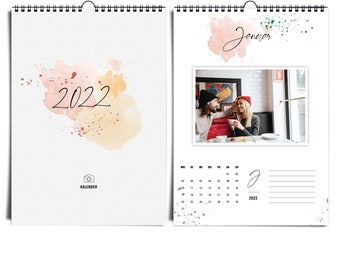 A4 Photo Calendar 2022 Happy Splash I Creative Calendar I Craft Calendar I Calligraphy and Watercolor Calendar