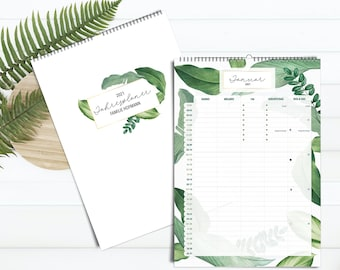 Personalized Family Planner 2022 GREENERY - personal family calendar
